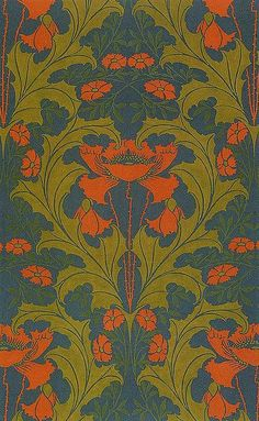 Harry Napper textile Art Nouveau - love the colors.  I don't know about the overlap of Art Nouveau and the Arts and Crafts movement.