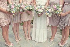 Mismatching bridesmaids dresses. I also like the flowers but would probably tweak it for an October wedding.
