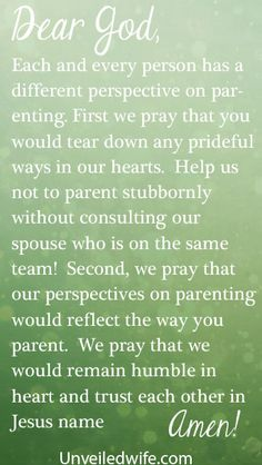 Prayer Of The Day – Parenting Side By Side by @Unveiled Wife