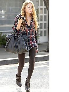boyfriend's flannel shirt, leggings and boots. i love this look