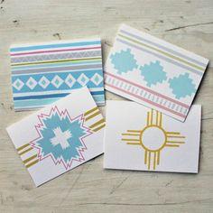 Santa Fe Summer  Set of 4 Blank Cards by FairMorningBlue on Etsy