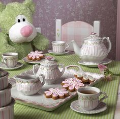 Pink Rosette Children's Tea Set