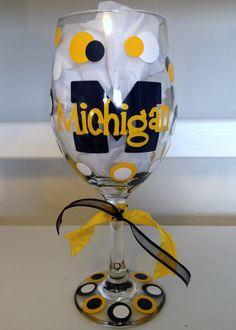 University of Michigan Wine Glass.