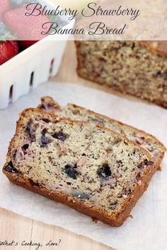 Blueberry Strawberry Banana Bread. A delicious and moist bread that combines banana bread with blueberries and strawberries. The bread is great for breakfast or dessert. #bread #banana