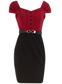 red and black wiggle dress