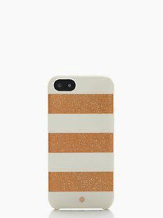 kate spade glitter jubilee stripe resin iphone 5 case color: rose gold/cream