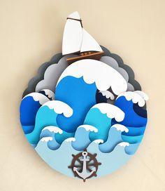child room, artworks, the wave, behance, ship, children room, papercut artwork, vaclav bicha, cut paper