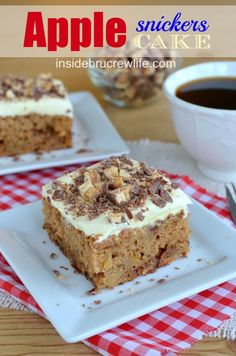 Apple Snickers Cake from http://www.insidebrucrewlife - apple cake with Snickers bars baked in and on the pudding layer #apple #Snickers