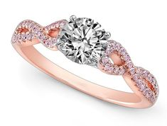 Diamond Engagement ring Infinity Pink Diamonds in Rose Gold #LBV