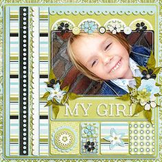 one for each of the kids.  change to blue with cars for my son?  but layout is so nice! scrapbook kids, scrapbook idea, scrapbooking girl, scrapbook photo, scrap scrapbook, scrapbook layout, scrapbook pages, scrapbooking layouts for girls, girl scrap