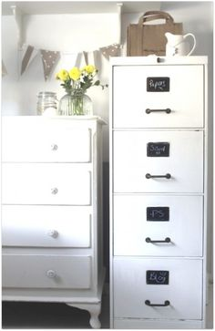 Paint a file cabinet white