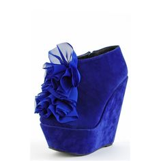 Gilia in BLUE! velvet blue booti, platform, blue shoes, wedges, booti blue, flowers, wedg booti, gilia chiffon, blues