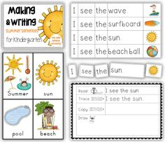 Making and Writing Summer Sentences for Kindergarten {vocab cards & sentence work}  http://www.teacherspayteachers.com/Product/Making-and-Writing-Summer-Sentences-for-Kindergarten-vocab-sentence-work-1236501  Summer is almost here!  Summer learn to read centers for Kindergarten, using basic sentence structures.
