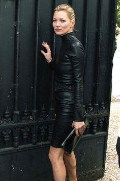 Kate Moss: leather turtleneck dress