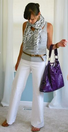 Gray tank and scarf with white pants or jeans.
