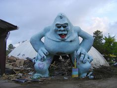 Abandoned Abominable Snowman squats over the wreck of Miracle Strip Amusement Park, Panama City Beach, Florida