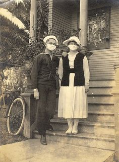 "My Granny's two younger Brothers ""Homer"" and ""Early"" died in this 1918 epidemic. This is a picture of WWI U.S. Sailor and Wife during 1918 Flu Pandemic by sunnybrook100, via Flickr"