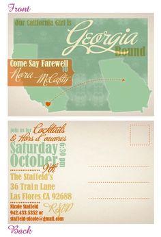 invitation: love these colors! postcard designs, graphic, postcard invit, color, print, parti