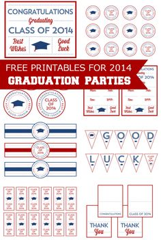 New free printables for your 2014 graduation parties! | CatchMyParty.com