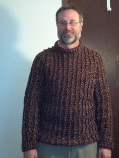Crocheted mens textured sweater, free pattern from Lion Brand Yarn.