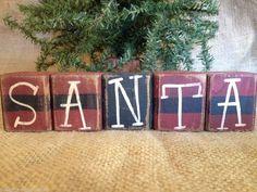 Primitive Country Santa Belt Holiday Christmas Shelf Sitter Cube Wood Block Set  #PrimitiveSantaBlocks