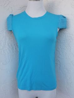 Alice-Olivia-size-Small-blue-tencel-t-shirt-multi-tiered-poofy-sleeves