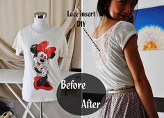 DIY Clothes Refashion: DIY Lace Insert T-shirt