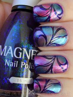 Nails. Water marble nail art.  Great colors.