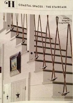nautic decor, theme stair, stair case, stair railings, beach houses, rope stairs, beachhous, rope stair railing