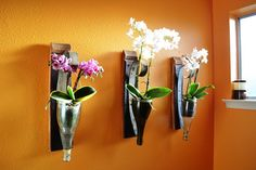 Set of 3 Wall Hanging Wine Bottle Flower Holder V2  - 100% recycled Wine Barrel and Bottle