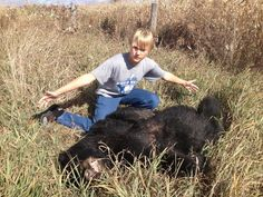 Kyle Weeks, 13, of Peoria stands next to a black bear killed in a collision with an SUV in Wisconsin during a recent fishing trip. Weeks, brother Jared Weeks, 11, and father Chip Weeks, 47, were passengers in the SUV, operated by Gene Moore, 66, of Peoria.