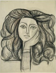 Art - Drawing - Portrait of Francoise - by Pablo Picasso, 1946 - Graphite, charcoal and color pencil