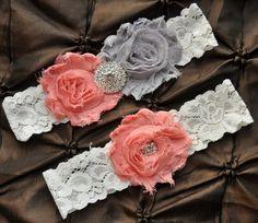 Wedding Garter Set, Bridal Garter Set - Ivory Lace Garter, Keepsake Garter, Toss Garter, Shabby Gray Coral Garter, You Design / Pick Colors. $22.00, via Etsy.