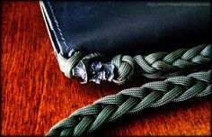 Black oxide Vinnie Garoon Cowboy Bead on two-peg spool knit paracord wallet lanyard