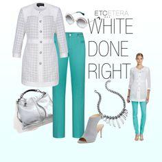 FAITH white jacket, AQUA pant, ENDORA necklace   Etcetera Spring Collection