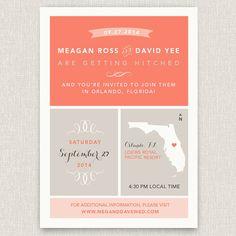 Wander - Modern destination wedding invitation with map