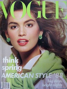 Vogue Fashion Magazine,February 1988.  Model Cover:Cindy Crawford.