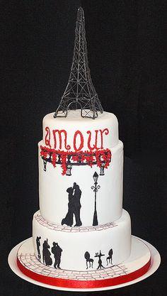 paris lovers silhouette cake