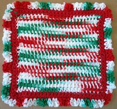 Holiday Ruffles Crochet Dishcloth