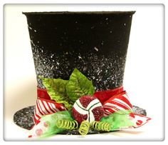 7in. Black Candy cane top hat, Christmas tree topper, or table decoration