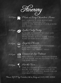 Custom Bachelorette Party Itinerary Chalkboard by TownleyDesigns