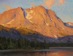 """June Lake Sunrise"" by Jesse Powell Oil ~ 14 x 18"". Saw this painting at Trailside Galleries and just stared at it for 5 minutes - very powerful and masterfully painted."