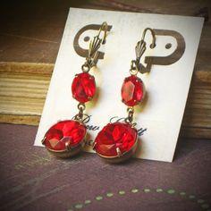 Red Rhinestone Dangle Earrings Ruby Poppy Holiday by RewElliott, $37.00