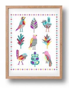 Pattern // Fairy birds - PDF Counted cross stitch pattern - Modern embroidery - Large cross stitch