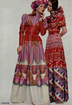 vintag lanvin, cloth, pattern, style, dress, 1970s fashion, inspir, lanvin 1972, print