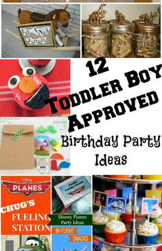 12 awesome and toddler boy approved birthday party ideas -- from Elmo, to Planes and Cars, to a farm party, you're sure to find a party that your toddler will love at this post!