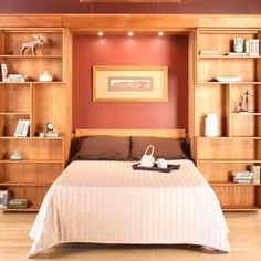 Library Wall Bed   Hardwood Artisans Handcrafted Bedroom Furniture