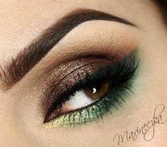 Brown and green! eye makeup, eden, green, odcieniach zieleni, beauti, brown, eyemakeup, hair, garden