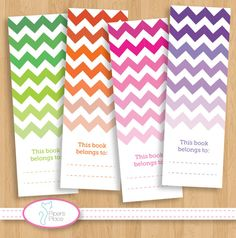 Printable ombre chevron bookmark