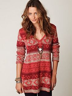 Free People Fairisle VNeck Pullover at Free People Clothing Boutique - StyleSays